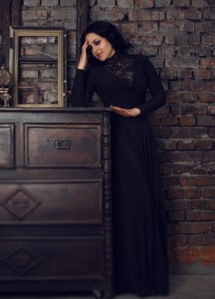 Костюм Черная вдова - черное платье в пол, кружевное боди