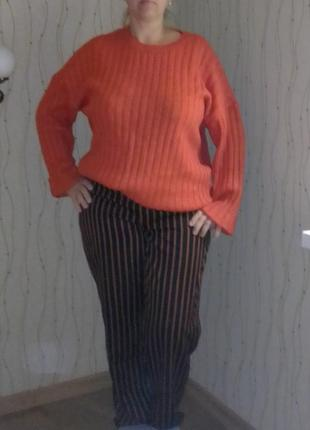 Свитер джемпер пуловер большой размер кирпичного яркий