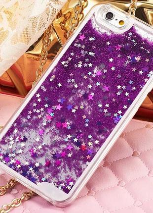 Чехол пластиковый прозрачный с Блестками Фиолетовый для IPhone 7