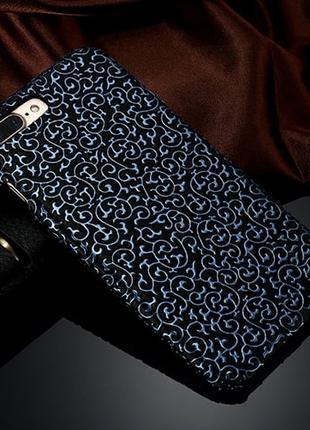 Пластиковый чехол Синий узор Черный для iPhone 8
