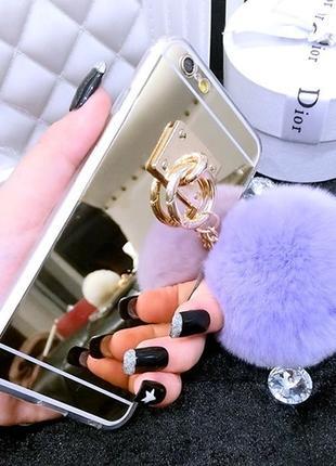 Силиконовый чехол с светло фиолетовым хвостиком для iPhone 7