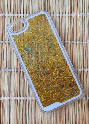 Чехол пластиковый прозрачный с Блестками Золото для IPhone 7