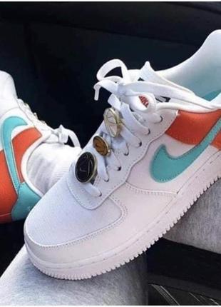 Nike air force 1 low se white orange, женские демисезонные 6