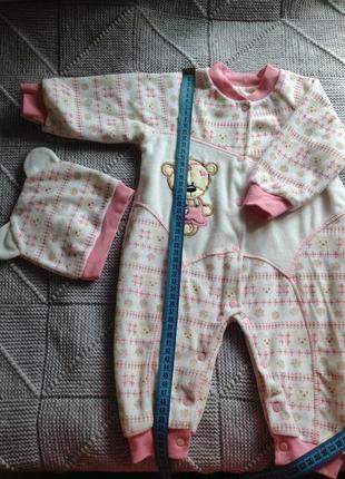 Велюровый комплект для девочки на 3-6 месяцев