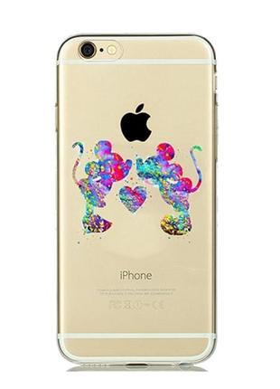 Силиконовый чехол Watercolor Art Relationship Mickey для iPhone 8