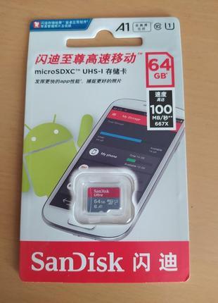 Флешка micro SD 64 gb Доставка бесплатно SanDisk ultra карта п...