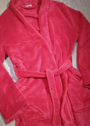 Плюшевый халат, яркий флисовый теплый на 9-12 лет