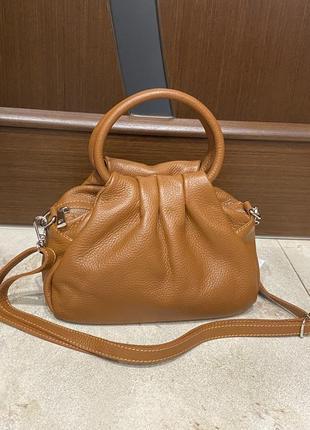 Рыжая кожаная сумка сумка из мягкой кожи рыжая шкіряна сумка рижа