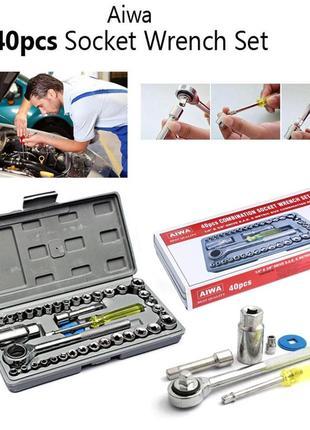 Набор инструментов 40 предметов в кейсе трещотка AIWA 40 pcs