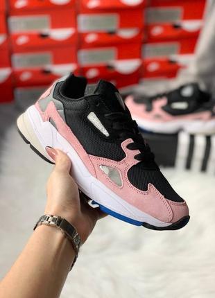 Adidas falcon pink женские замшевые кроссовки розового цвета