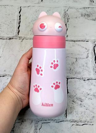 Термос термокружка котик с ушками, розовый, 400 мл