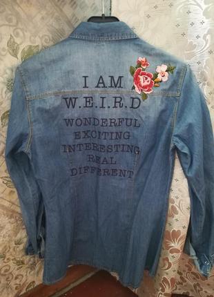 Джинсовая рубашка с вышивкой stradivarius