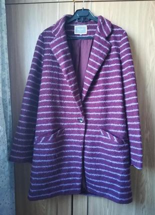 Пальто в полоску next с шерстью