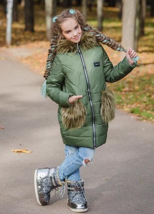 Зимняя куртка с мехом на карманах 134-152 р-р