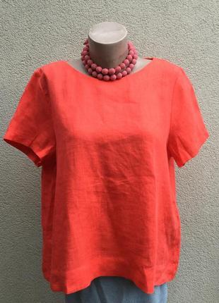 Красная блуза,рубаха в этно,бохо стиль,лен100%,большой размер