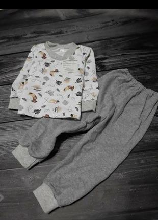 Пижама трикотажная на байке тёплая для малышей