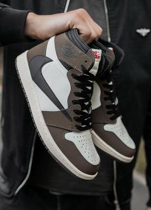 ❤ мужские коричневые кожаные кроссовки nike air jordan 1 retro...