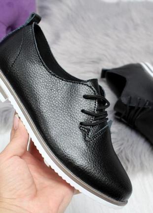 Кожаные комфортные черные туфли на шнурках низкий каблук натур...