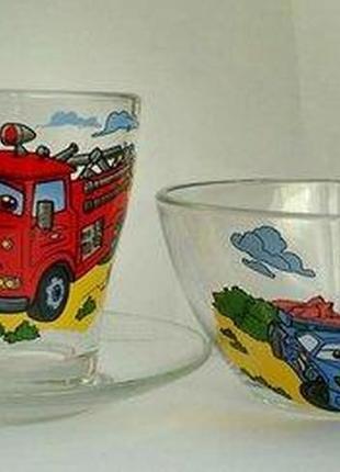 Набор детской стеклянной посуды МАшинки