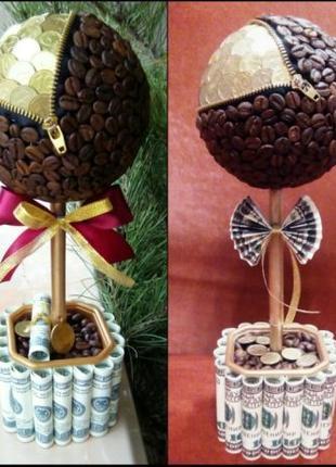 Дерево счастья топиарий кошелек из монет и кофе
