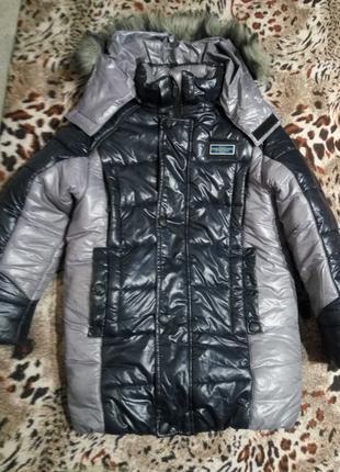 Зимняя теплая куртка курточка мальчику 130-150см почти новая