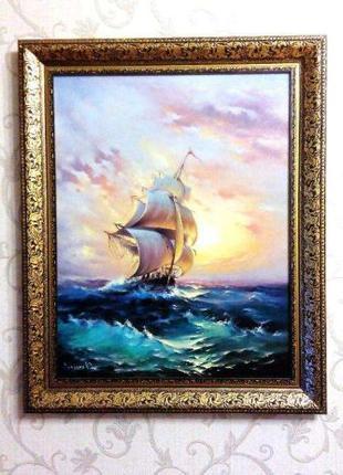 Картина ОРИГИНАЛ холст масло Морской пейзаж 35 х 45