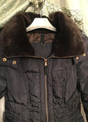 Натуральный пуховик куртка курточка с мехом фирменный zara кла...