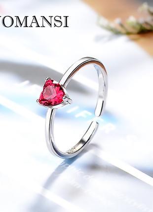 Кольцо Luomansi с рубином, в форме сердца, серебро 925 пробы