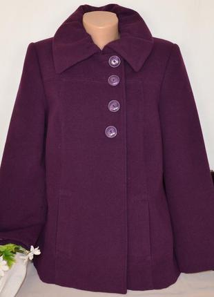 Брендовое фиолетовое демисезонное пальто с карманами klass col...