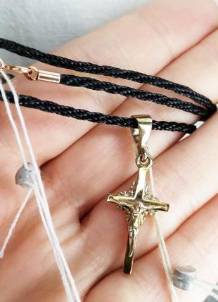 Золотой крестик на атласном шнурочке (золотые пластины, серебр...