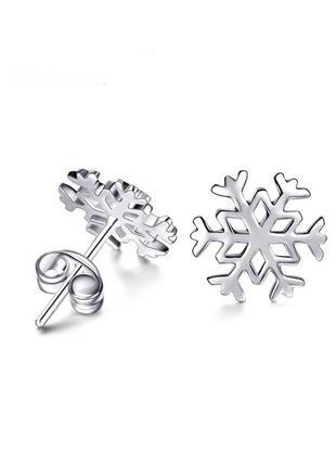 Серьги гвоздики снежинки серебро s925