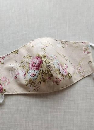 Женская бежевая маска с розами Прованс