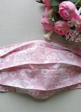 Розовая маска , защитные маски с ткани
