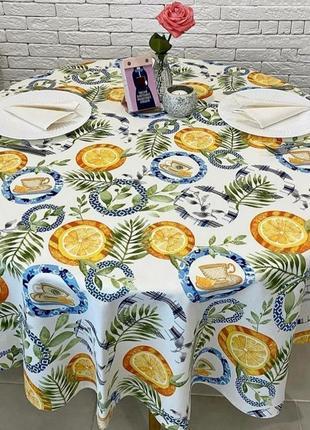 Хлопковая скатерть с апельсинами, тефлоновая скатерть 110*160 см