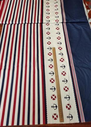 Отрез ткани сатин  для постельного белья с якорями