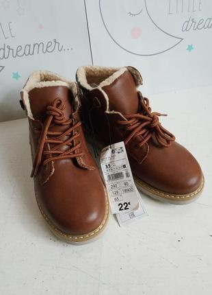 Деми ботинки утепленные шерпа, эко кожа kiabi 35р 22,5см ориги...