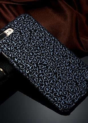 Пластиковый чехол Синий узор Черный для iPhone 7