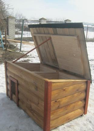 Утепленная будка для собаки с закрытой верандой