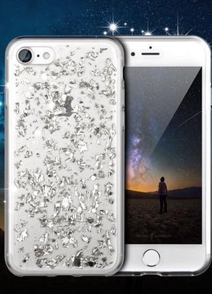 Силиконовый чехол с блестками Серебристый для iPhone 7