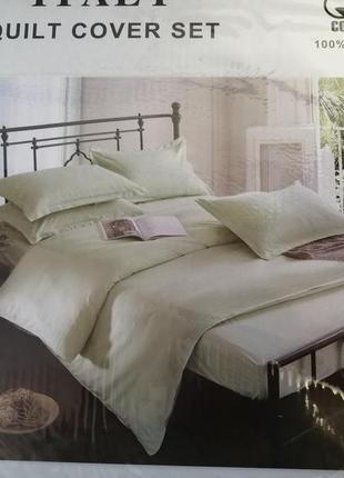 Комплект постельного белья поплин фисташка в полоску. отельная...