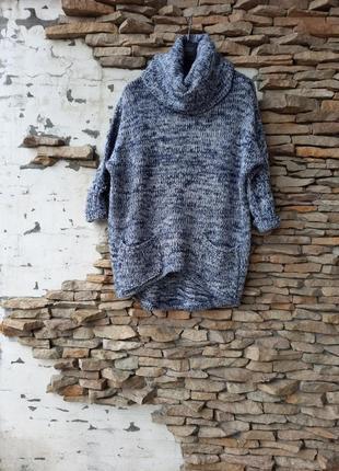 Стильный и тёплый с карманами и хомутом пуловер,  свитер больш...