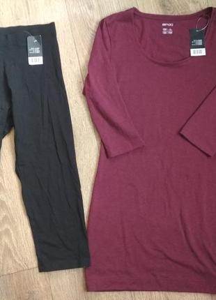 Бордовая туника футболка с рукавом 3/4 esmara, р. s, 36-38, ес...