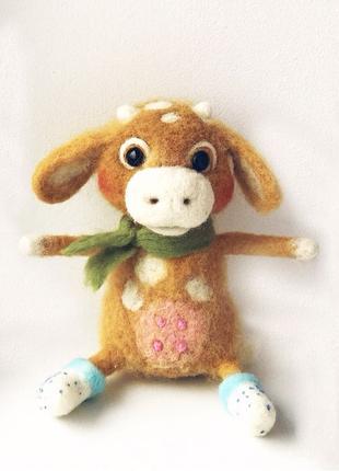Корова из шерсти, игрушка из шерсти ручной работы