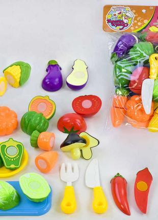 Продукты Овощи 10 шт на липучке,досточка,ножик, вилка
