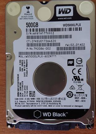 Жесткий диск для ноутбука WD Black WD5000LPLX 500Gb SATA3 7200rpm