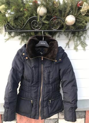 Пуховий натуральный куртка пух пуховая фирменная zara m