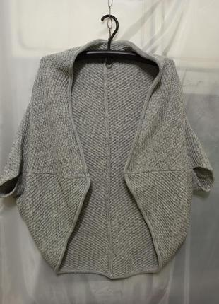 Женская кофта кардиган накидка. цвет светло серый. жіноча кофт...