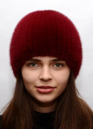 Женская вязаная норковая шапка