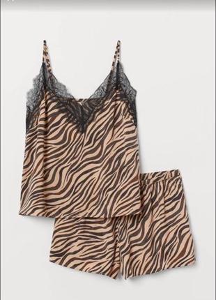 Пижама с круживом,Сатиновая пижама H&M,атласная пижама