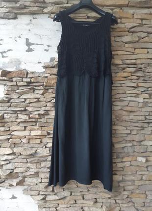 Вискозное с кружевным верхом платье 👗 большого размера